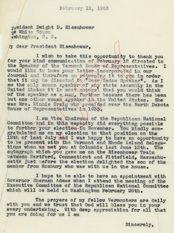 Consuelo Northrop Bailey to President Dwight D. Eisenhower, 1953, February 18