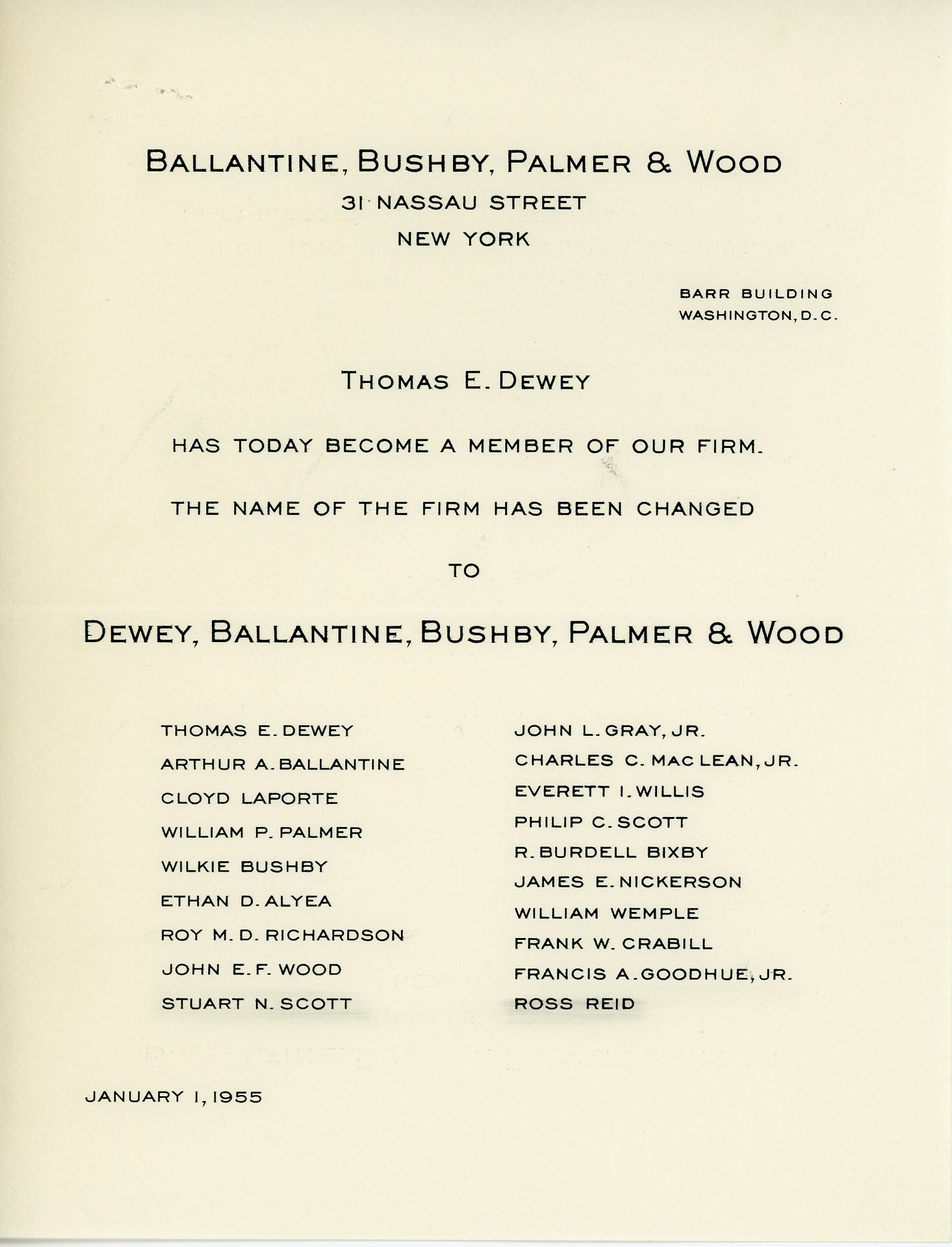 Ballantine, Bushby, Palmer and Wood Announcement, 1955 January 1