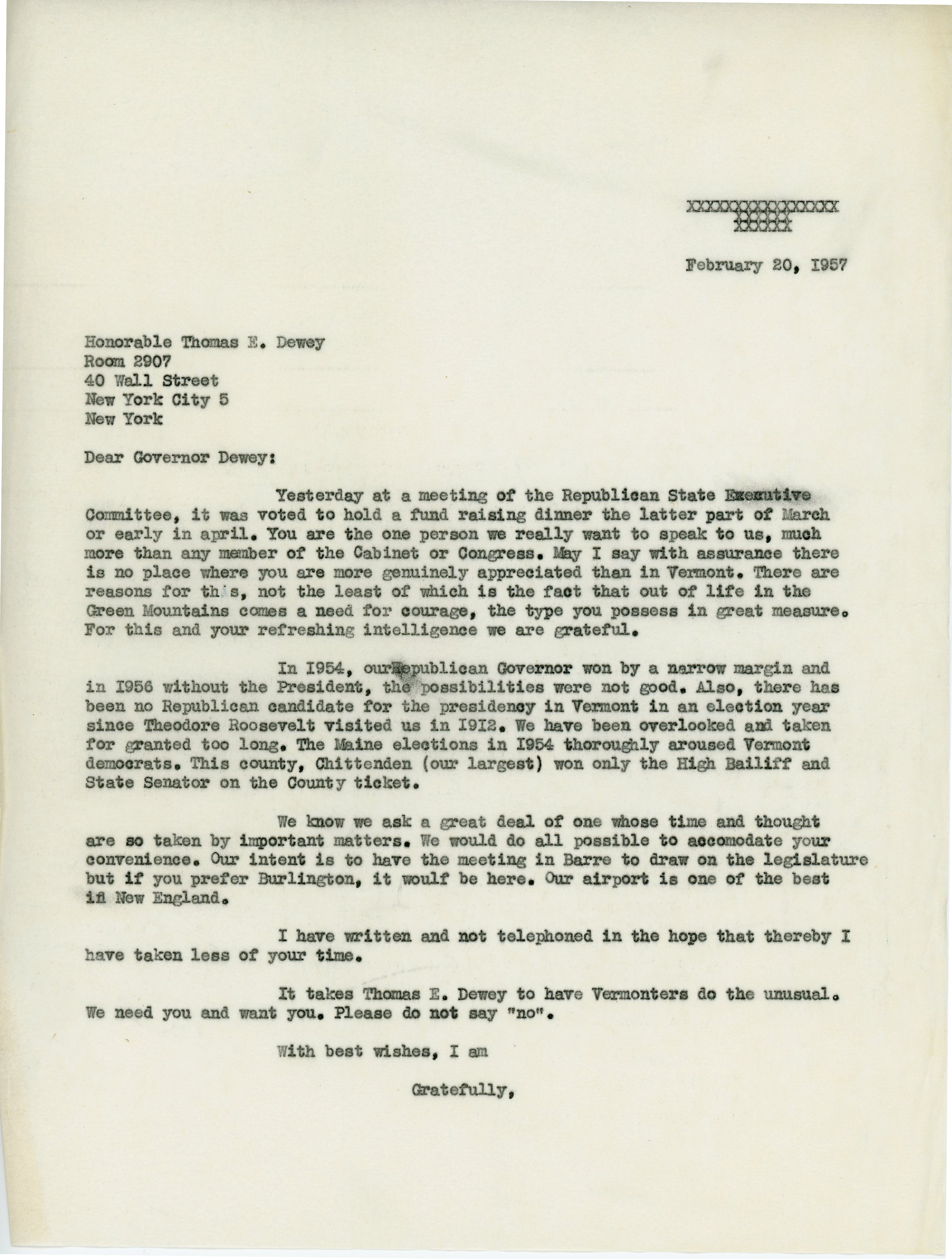 Letter from Consuelo Northrop Bailey to Thomas Dewey, 1957 February 20