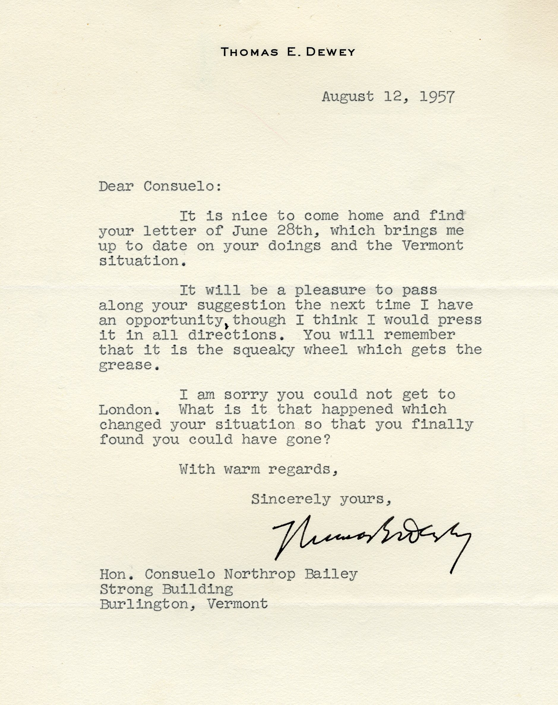 Letter from Thomas Dewey to Consuelo Northrop Bailey, 1957 August 12