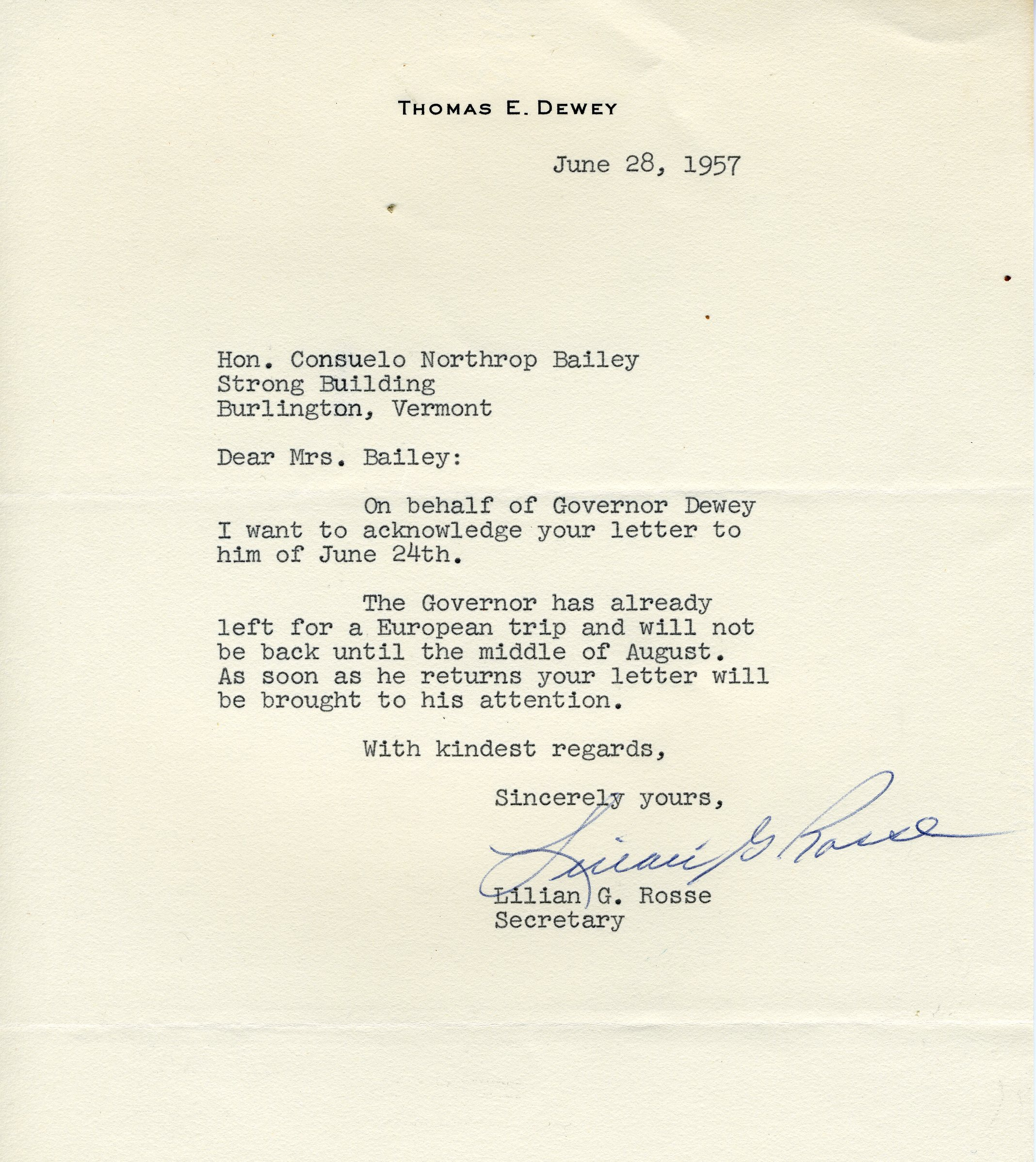 Letter from Lilian G. Rose to Consuelo Northrop Bailey, 1957 June 28