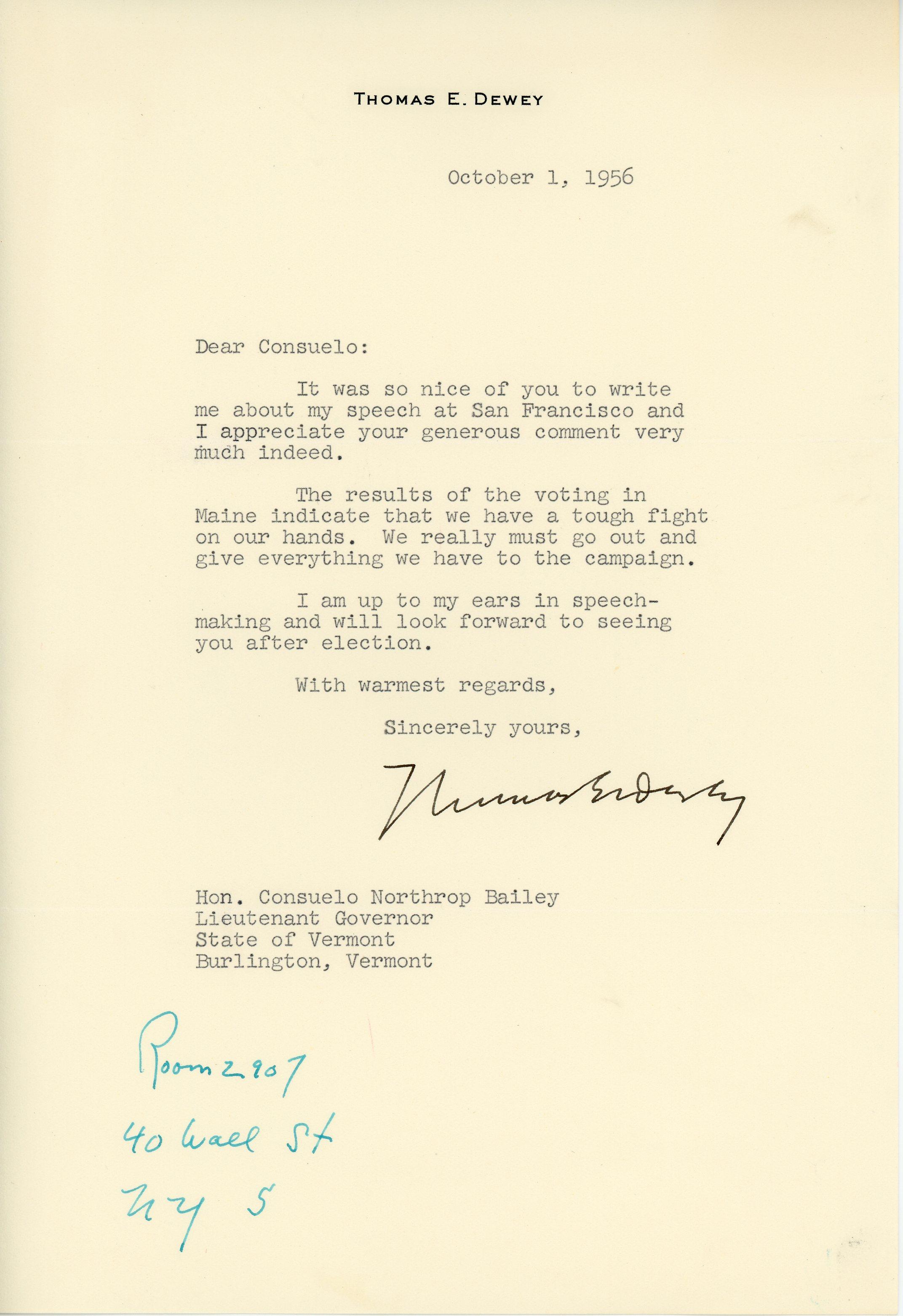 Letter from Thomas Dewey to Consuelo Northrop Bailey, 1956 October 1