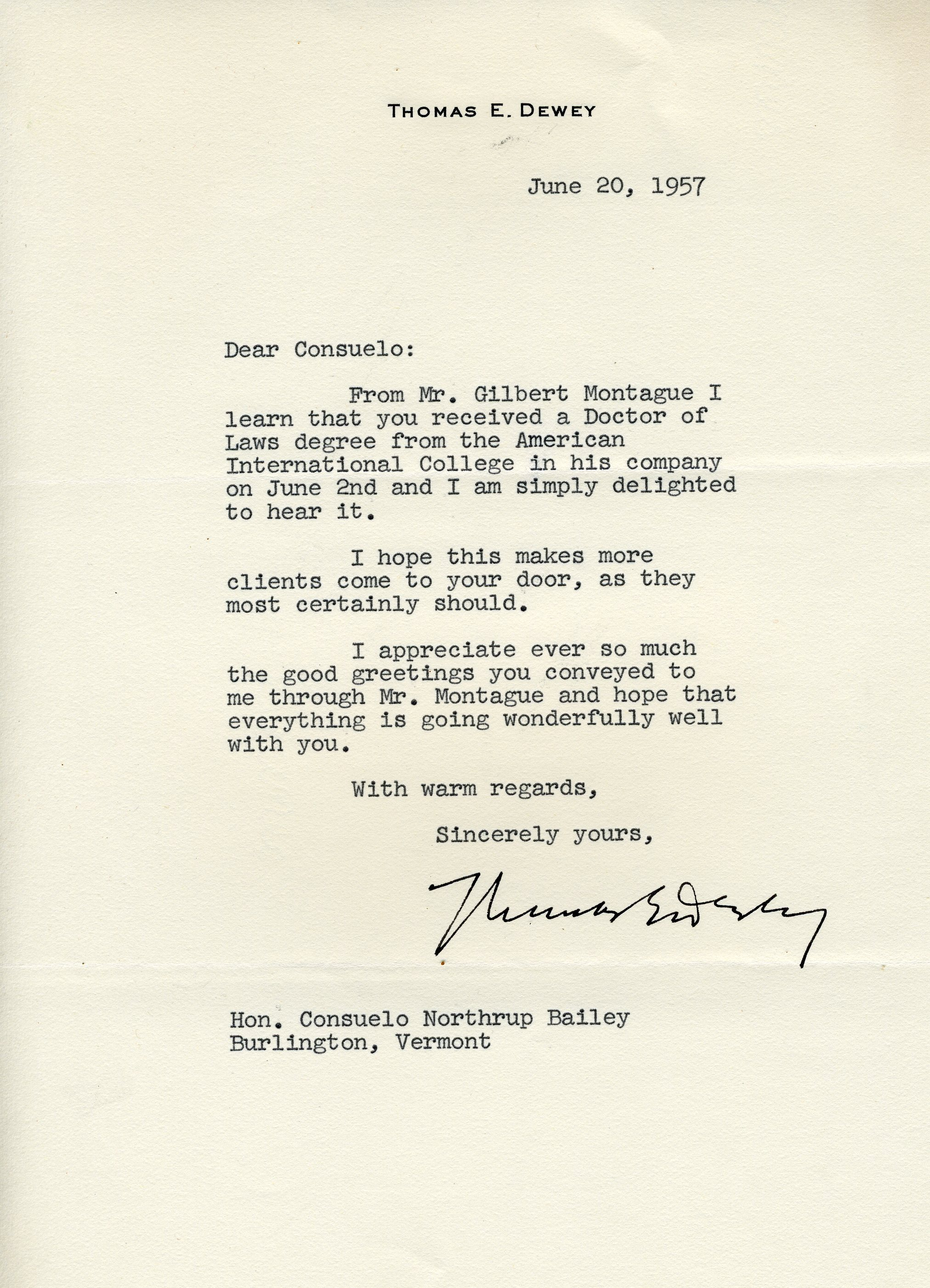 Letter from Thomas Dewey to Consuelo Northrop Bailey, 1957 June 20