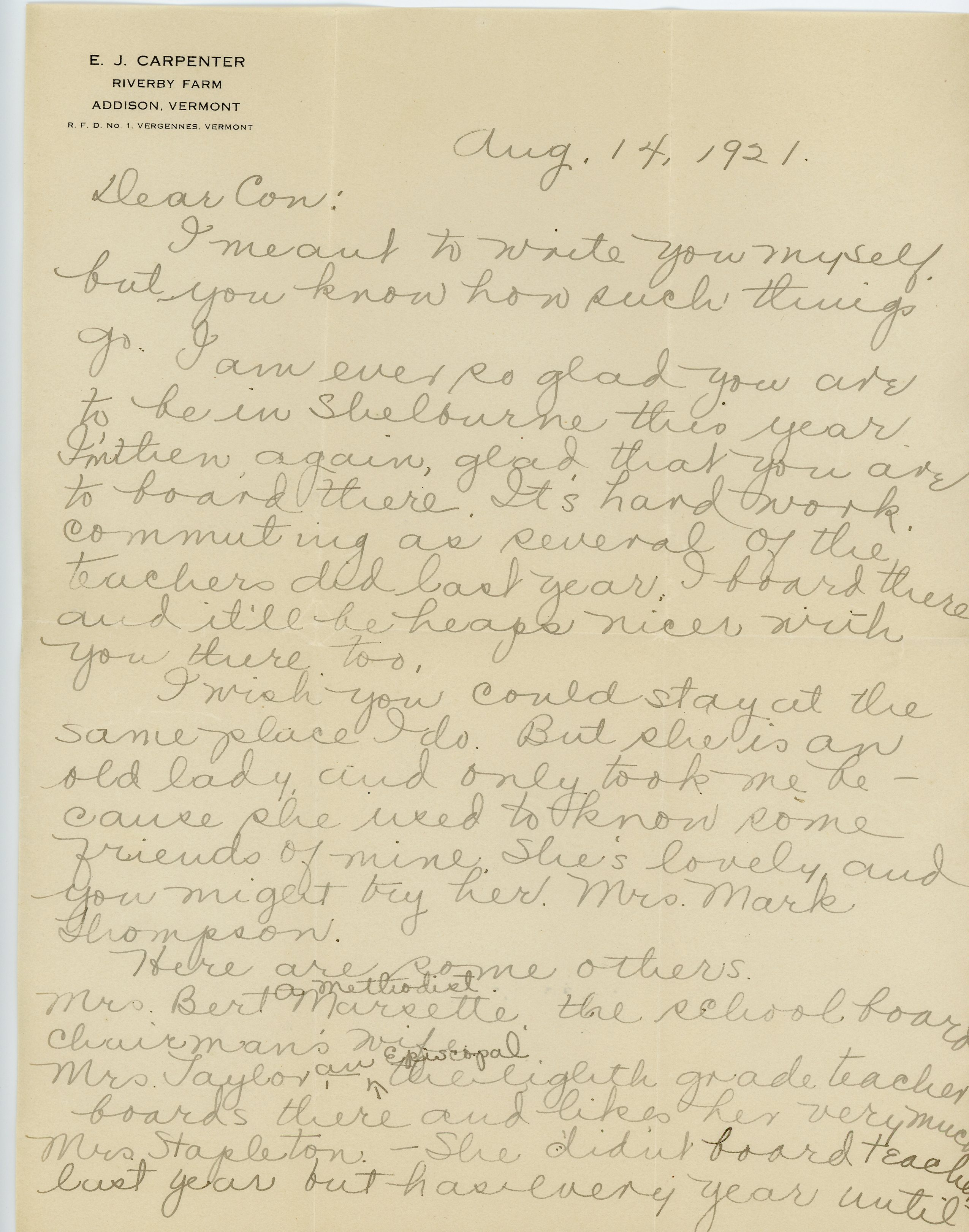 Letter to Consuelo Northrop Bailey from Margaret A. Carpenter 1921, August 14th