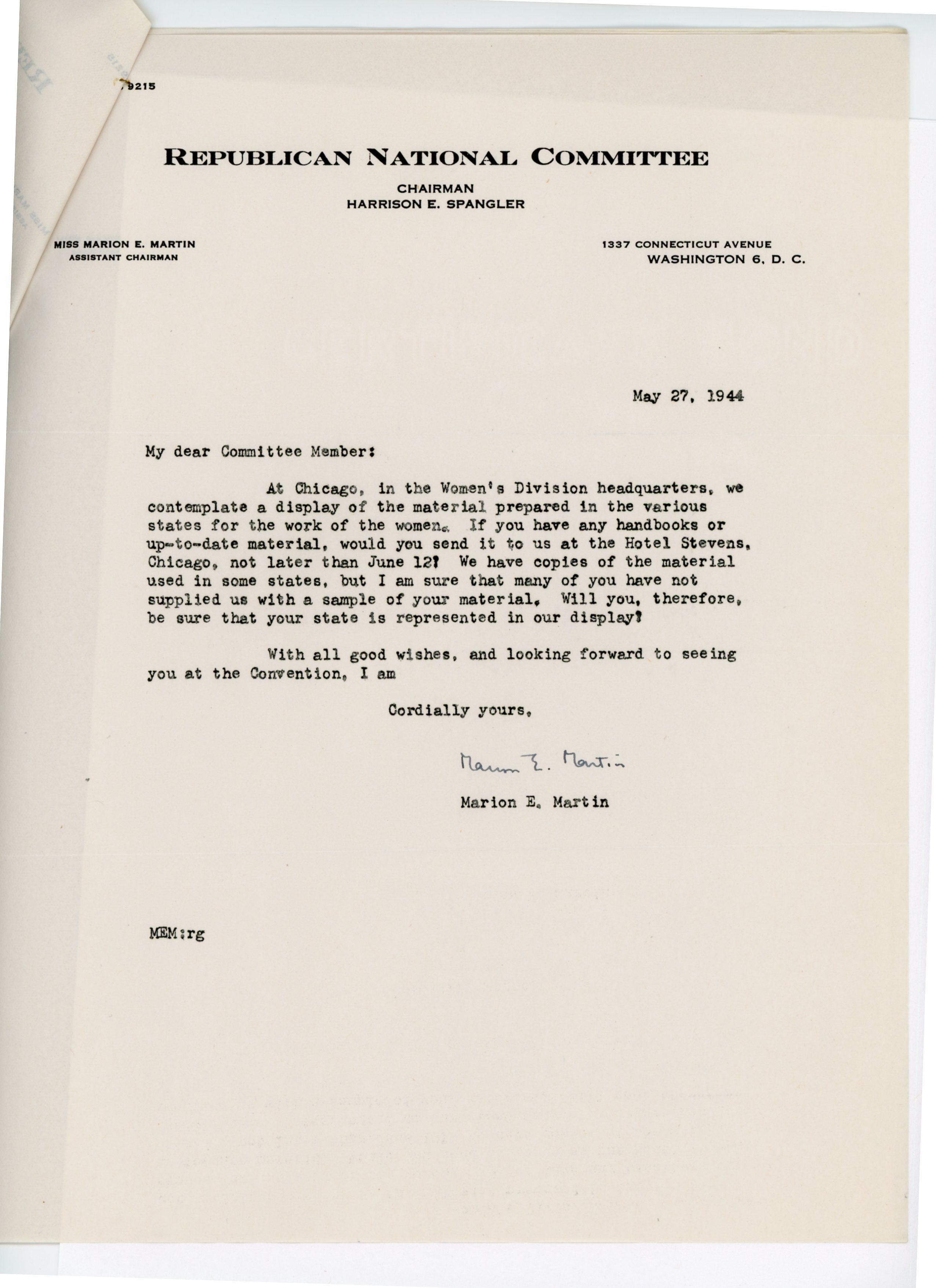 Marion E. Martin to Consuelo N. Bailey 1944 May 27