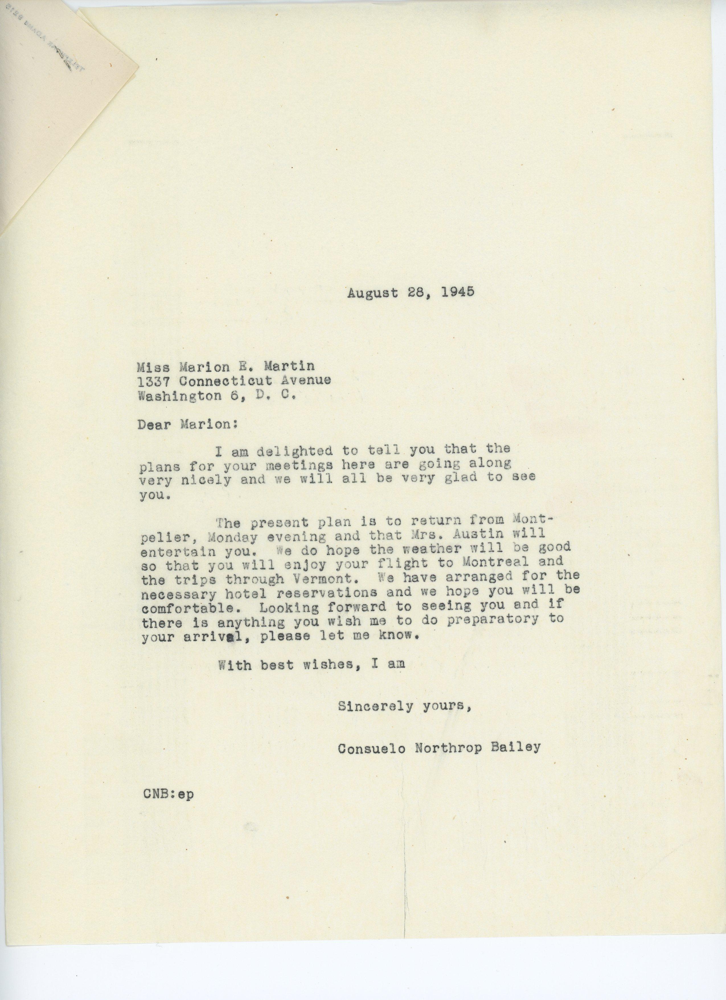 Consuelo Northrop Bailey to Marion E. Martin 1945 August 28