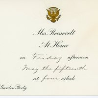 Third garden party invitation, envelope and response card from Eleanor Roosevelt to Consuelo Northrop Bailey