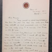 A Letter from Mr. Kellogg to FPK, April 1, 1904