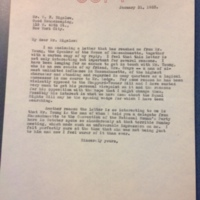 FPK to William Frederick Bigelow, January 31, 1923