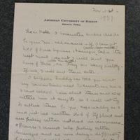 FPK to Peter Keyes, November 1, 1931