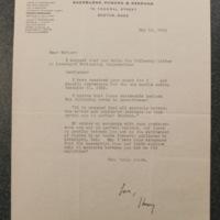 Henry Keyes Jr. to FPK, May 16, 1934