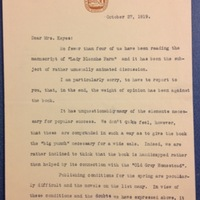 Ferris Greenslet to FPK, October 27, 1919