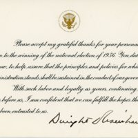Thank You from President Dwight D. Eisenhower to Consuelo Northrop Bailey, 1956