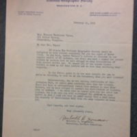 A Letter form the National Geographic Society to FPK, February 21, 1935