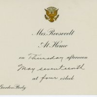 First garden party invitation, rain date card and envelope from Eleanor Roosevelt to Consuelo Northrop Bailey