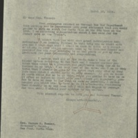 FPK to Harriet (Mrs. Horace M.) Towner, March 16, 1924