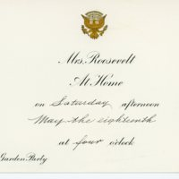 Second garden party invitation, rain date card and envelope from Eleanor Roosevelt to Consuelo Northrop Bailey