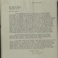 William Frederick Bigelow to FPK, April 29, 1921
