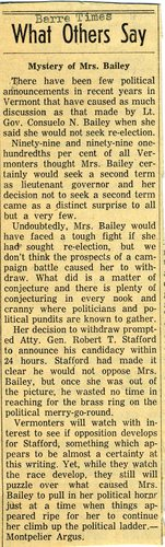 1956 April, What Others Say (Reprinted in Barre Times from Montpelier Argus)