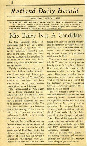 1956 April 11, Rutland Daily Herald, Bailey Not a Candidate